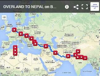 motorbike route overland to Nepal